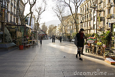 Early morning on Las Ramblas Editorial Image