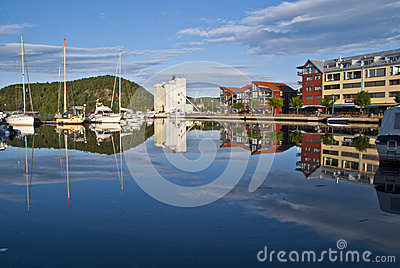 Early morning on quayside in Halden City