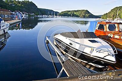 Early morning on quayside in Halden (speedboat)