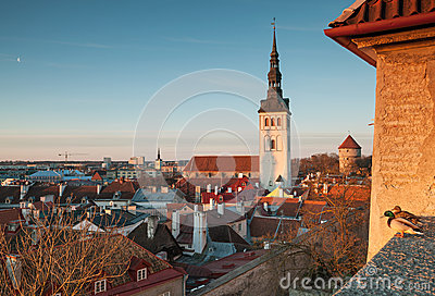 Early spring morning panorama of old Tallinn