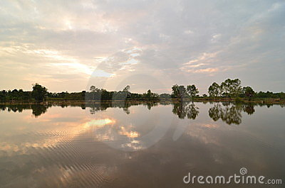 Early summer morning sun hits