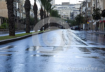 Empty Wet Winter Street