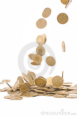 Earning money concept, falling golden coin