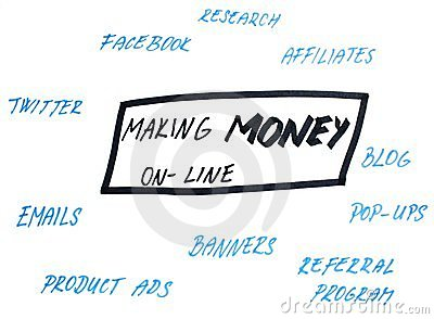Earning money online graph hndwritten