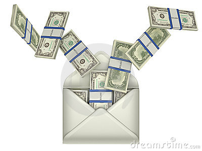 Earnings and money transfer - dollars in envelope