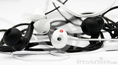 Earphones - black and white