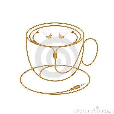 Earphones, In Ear type brown color and coffee cup shape made from cable Vector Illustration