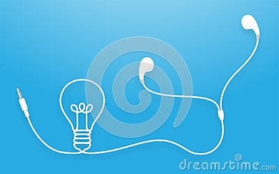 Earphones, Earbud type white color and Light Bulb symbol Vector Illustration