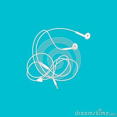 Earphones with wire Vector Illustration