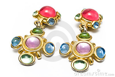 Earring with gems