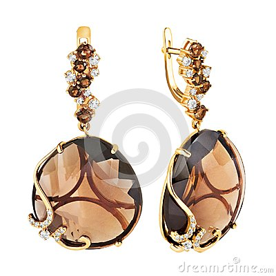 Free Earrings Of Gold With Diamonds, Topaz And Amethyst Stock Photo - 114994320