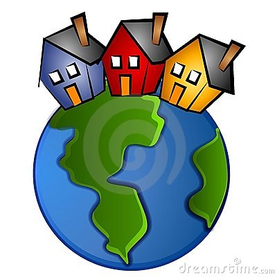 Earth With 3 Houses Clip Art