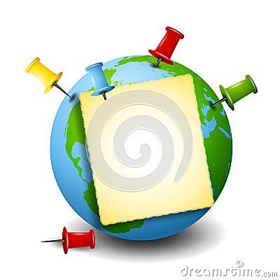 Free Earth As Bulletin Board Tacks Royalty Free Stock Photos - 4824728