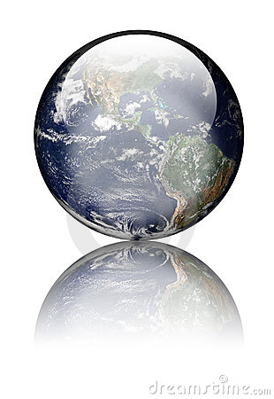 Earth as glass globe