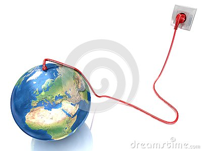 Earth attached to electrical socket. Stock Photo