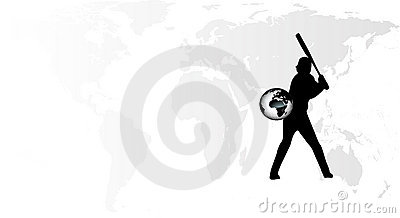 Earth baseball player vector