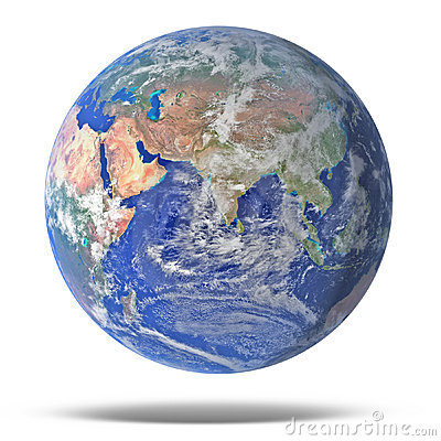 Earth blue planet isolated on white with drop