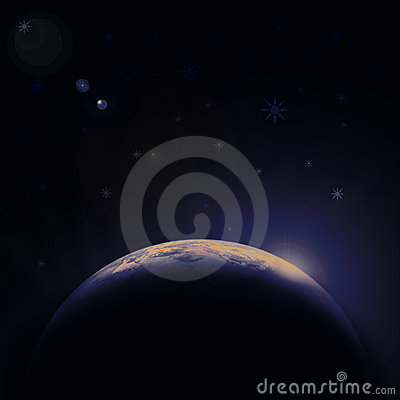 Earth blue planet in space with star