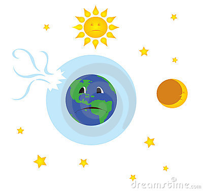 Earth with broken ozone layer