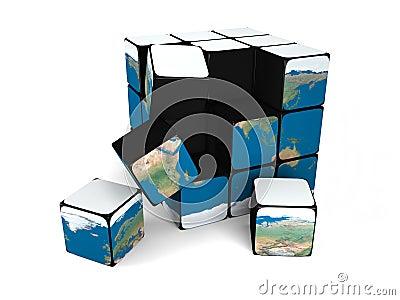 Earth building blocks falling