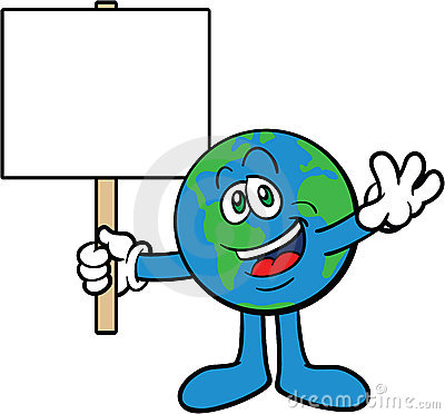 Earth Cartoon Mascot Character Holding A Placard