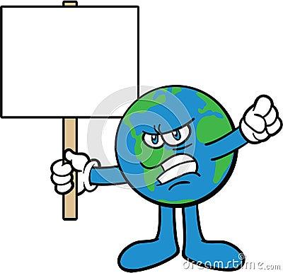 Earth Cartoon Mascot Character Protesting