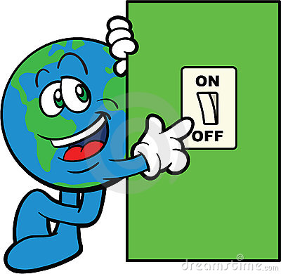 Earth Cartoon Mascot Switch Off