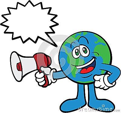 Earth Cartoon Mascot Using Megaphone