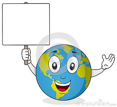 Earth Character Holding Blank Sign