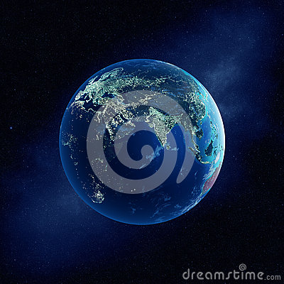 Earth with city lights at night stock illustration image for 3d map of outer space