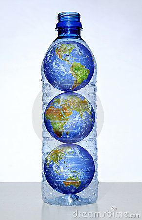 Earth with Continents in Water Bottle