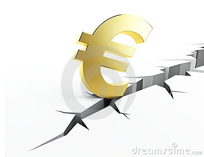 Earth crack euro isolated