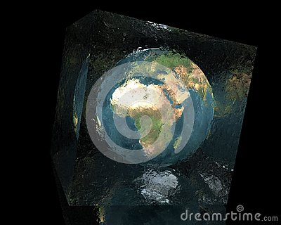Earth in cracked glass cube