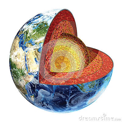 Earth cross section. Outer core version.