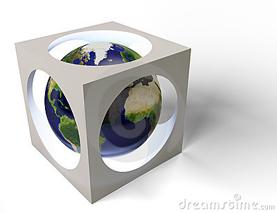Earth in cube