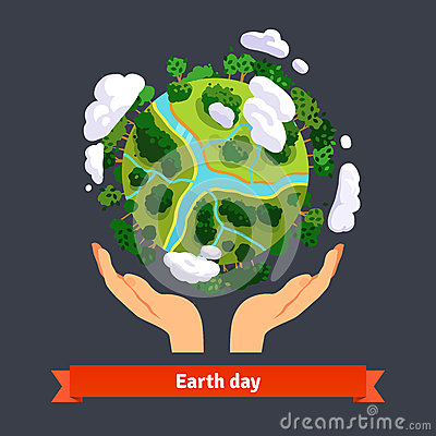 Free Earth Day Concept. Human Hands Holding Globe Stock Photography - 62494402