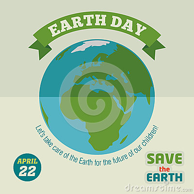 Earth day flat design poster Vector Illustration