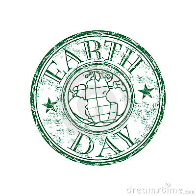 Earth day grunge rubber stamp