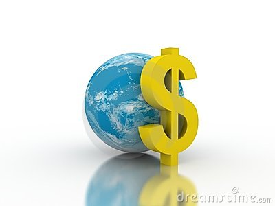 Earth with a dollar sign