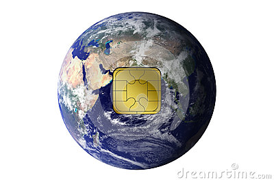 The Earth with electronic chip