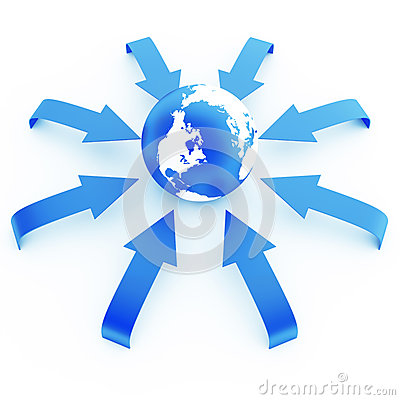 Earth in an environment of blue arrows