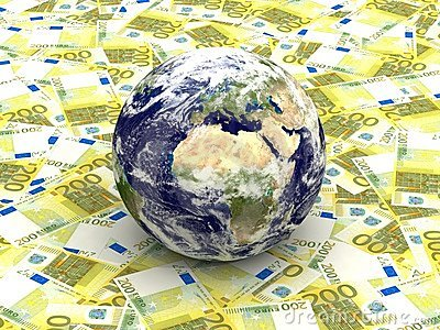 Earth among Euro banknotes