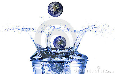 Earth falling in water