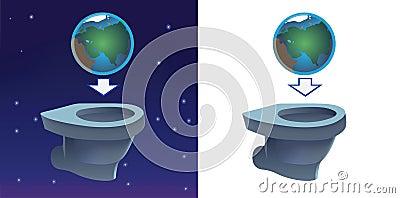 Earth flashing in toilet