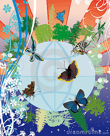 Earth in flowers and butterflies