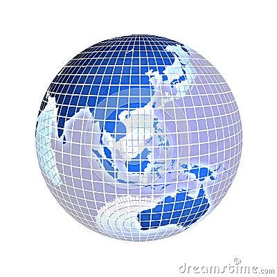 Earth, focus on asia, on white