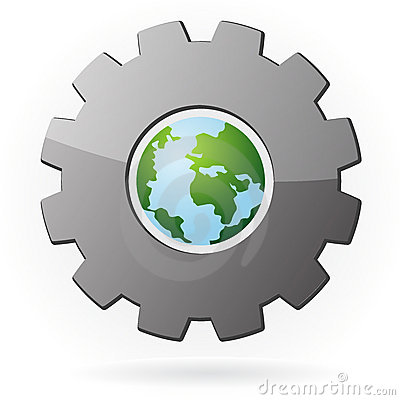 The earth and gear symbol