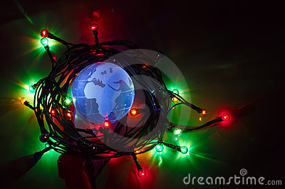 Earth globe Africa Europe Christmas light