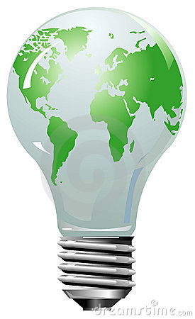 Earth globe as lightning bulb