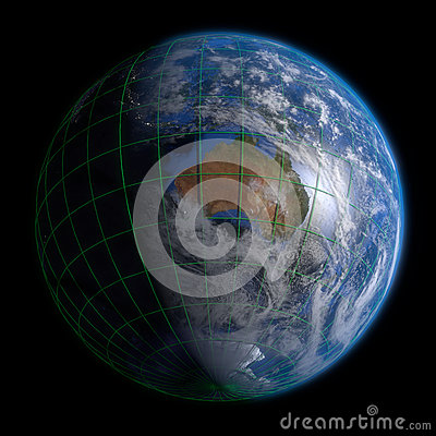 Earth Globe Australia - Clouds and Lines